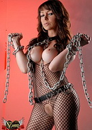 Fishnets and chains. Excited Danielle Foxxx playing some fetish sex games
