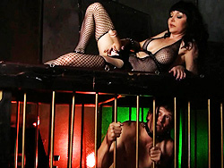 Kinky strapon footage Exciting Danielle teasing her slave with a strap-on.